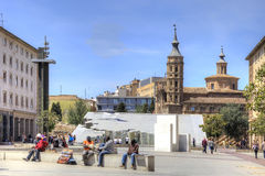 Saragossa. Area  Plaza del Pilar Royalty Free Stock Photos