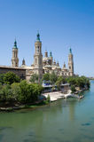 Saragossa cathedral and river Ebro. Saragossa cathedral in front of river Ebro in Spain Royalty Free Stock Photos