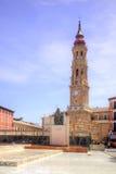 Saragossa, Plaza del Πιλάρ Καθεδρικός ναός και μνημείο του Σαν Σαλβαδόρ Στοκ φωτογραφία με δικαίωμα ελεύθερης χρήσης