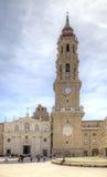 Saragossa, Plaza del Πιλάρ Καθεδρικός ναός του Σαν Σαλβαδόρ Στοκ φωτογραφία με δικαίωμα ελεύθερης χρήσης