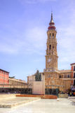Saragossa, Plaza del Pilar. San Salvador Cathedral and monument Royalty Free Stock Photo