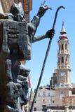 Saragossa. Skulptur in der Piazza Del Pilar. Stockfotografie