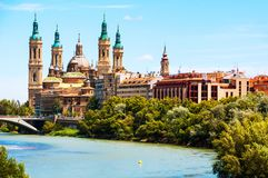 Aerial view of Saragossa, Spain with Basilica of Our Lady of the Pillar Royalty Free Stock Photos