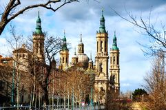Saragossa, Spain. Basilica of Our Lady of Pillar with blue sky Stock Photography