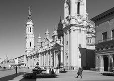 SARAGOZZA, SPAGNA - 2 MARZO 2018: La cattedrale Basilica del Pilar Immagini Stock