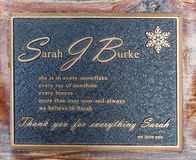 Sarah Burke Memorial Plaque Stockbilder