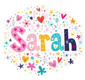 Sarah female name decorative lettering type design Royalty Free Stock Image