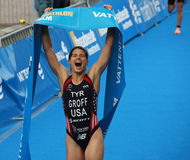 Sarah Groff is happy after winning the triathlon competition Stock Photography