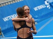 Sarah Groff hugging Lindsay Jerdonik Royalty Free Stock Photos