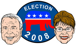 Sarah Palin und McCain lizenzfreie abbildung