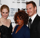 Sarah Paulson, Alfre Woodard, Michael Fassbender. NEW YORK- OCT 8: (l-r) Actors Sarah Paulson, Alfre Woodard and Michael Fassbender attends the 12 Years A Slave Stock Photo