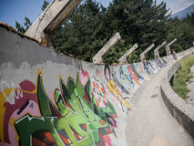 Sarajevo a abandonné le traîneau olympique de plomb photographie stock libre de droits