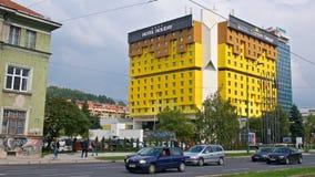 Sarajevo, Bósnia & Herzegovina - em outubro de 2017: Holiday Inn icônico que é testemunha aos eventos tumultuosos que se desdobra Fotos de Stock