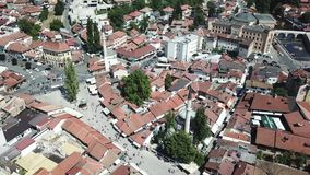 Sarajevo - Baščaršija. The municipality of Stari Grad is characterized by its many religious structures and examples of unique Bosnian architecture. The Stock Photo