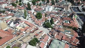 Sarajevo - Baščaršija. The municipality of Stari Grad is characterized by its many religious structures and examples of unique Bosnian architecture. The Stock Image