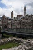 Sarajevo, Bośnia i Herzegovina, Bascarsija, Zegarowy wierza, Gazi Błagamy meczet, Taslihan, karawanseraj zdjęcia stock