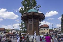 Sarajevo city centre at day time in summer season. SARAJEVO, BOSNIA AND HERZEGOVINA - AUGUST 18 2017: Sarajevo city centre at day time in summer season, with the Royalty Free Stock Photos