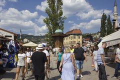Sarajevo city centre at day time in summer season. SARAJEVO, BOSNIA AND HERZEGOVINA - AUGUST 18 2017: Sarajevo city centre at day time in summer season, with the Stock Photos