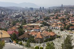 View from the top of Yellow Fortess of the city of Sarajevo. SARAJEVO, BOSNIA AND HERZEGOVINA - AUGUST 19 2017: View from the top of Yellow Fortess of the city stock photos