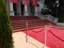Red carpet in front of National Theatre during 24th Sarajevo Film Festival. Sarajevo, Bosnia and Herzegovina, 8/12/2018: Red carpet in front of National Theatre royalty free stock photos