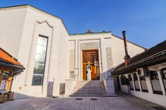 SARAJEVO, BOSNIA - JAN 26, 2018: Entrance of Gazi Husrev Begova Biblioteka, a historical library museum. The district Stock Photo