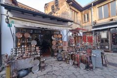 SARAJEVO, BOSNIA - JAN 26, 2018: Open Street touristic market in the old Town, Sarajevo in Bosnia-herzegovina. Old Style Royalty Free Stock Photo