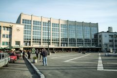 Main Entrance Of The Sarajevo Railway Station With Taxi Drivers In