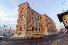 SARAJEVO BOSNIEN - JANUARI 25 2018: Medborgare- och universitetarkiv av Bosnien och Hercegovina byggnad, Sarajevo Före detta Sara Royaltyfria Bilder