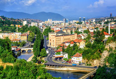 Sarajevo city, capital of Bosnia and Herzegovina. Aerial view of Sarajevo, the capital of Bosnia and Herzegovina, with Latin Bridge, Miljacka River, National Stock Photo