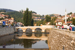 Sarajevo cityscape with the Miljacka river and a bridge Royalty Free Stock Image