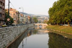 Sarajevo cityscape. With the Miljacka river and the Latin bridge. Sarajevo is the capital of Bosnia and Herzegovina. In 1914 the yugoslav nationalist Gavrilo stock photo