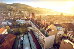 Sarajevo cityscape. View at Sarajevo streets and buildings from high viewpoint Stock Photo
