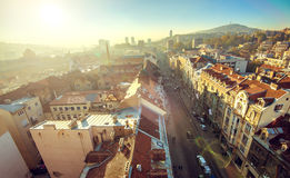 Sarajevo cityscape. View at Sarajevo streets and buildings from high viewpoint Royalty Free Stock Photography