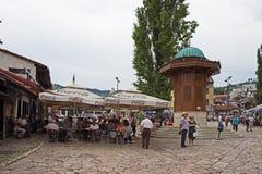 Sarajevo gatacafeteria Royaltyfri Fotografi