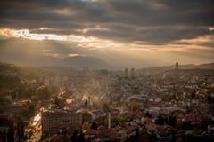 Sarajevo i solnedgång Arkivbild