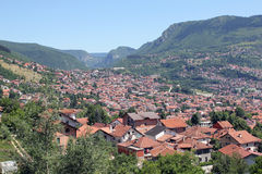 Sarajevo. Looking from a mountain on a valley. Capital city of Bosnia and Herzegovina. The small houses in the valley Stock Photos
