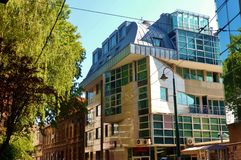 Sarajevo modern building inserted in old street Royalty Free Stock Photography