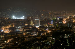 Sarajevo - nachtpanorama Stock Afbeeldingen
