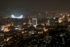 Sarajevo - nattpanorama Arkivbilder