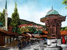 Sarajevo watercolor aquarell. Sarajevo old town, watercolor city, otoman architecture, the Sebilj in Sarajevo, aquarell of an city, Bosna and Hercegovina Stock Photo