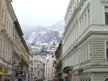 Sarajevo onder sneeuw Stock Afbeeldingen
