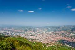 Sarajevo, opinión del paisaje Visión panorámica Imágenes de archivo libres de regalías