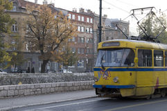 Sarajevo - oude tram Stock Afbeelding