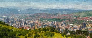 Sarajevo Panorama. Panoramic view on Sarajevo City, oil painting simulation Stock Photography