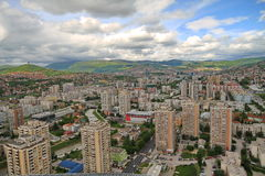 Sarajevo panoramic view. SARAJEVO, BOSNIA AND HERZEGOVINA - JUNE 22: Panoramic view from Bosmal building on June 22, 2012 Sarajevo, Bosnia and Herzegovina Royalty Free Stock Photography