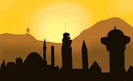 Sarajevo solnedgång royaltyfri illustrationer