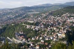 Sarajevo - stadspanorama Royaltyfri Fotografi