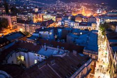 Sarajevo streets. View at Sarajevo streets from above at dusk Royalty Free Stock Image