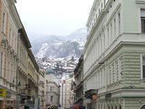 Sarajevo under snö Arkivbilder
