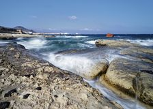 Sarakiniko beach - Beach with shipwreck royalty free stock photos